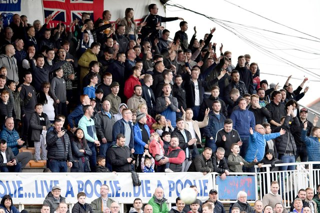 Hartlepool United fans in Victoria Park's North West Corner. Picture by FRANK REID