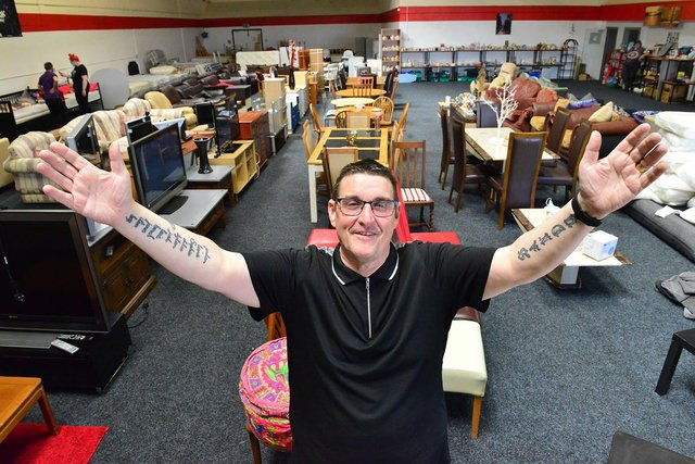 Stephen Picton inside the Poolie Time Empire shop on Usworth Road.