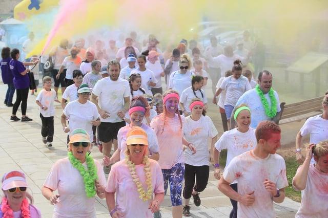 Participants at Hartlepool's 2017 Colour Run.