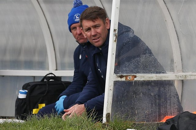 Hartlepool manager, Dave Challinor (r) looks on  during the Vanarama National League match between Hartlepool United and Maidenhead United at Victoria Park, Hartlepool on Saturday 8th May 2021. (Credit: Mark Fletcher | MI News)
