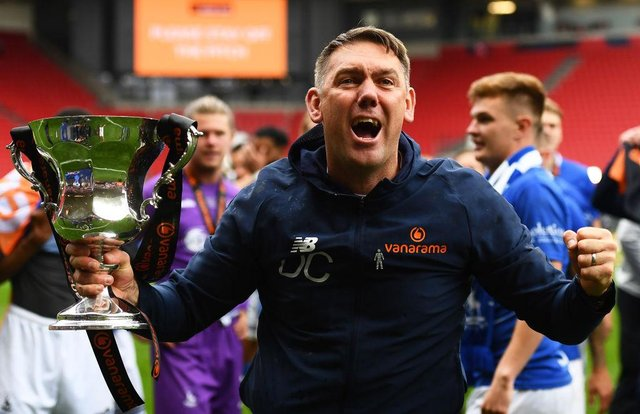 Dave Challinor, Manager of Hartlepool United celebrates following the Vanarama National League Play-Off Final match between Hartlepool United and Torquay United at Ashton Gate on June 20, 2021 in Bristol, England. (Photo by Harry Trump/Getty Images)