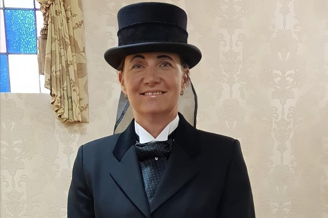 Tracey Rimmer in her working clothes as a funeral director.