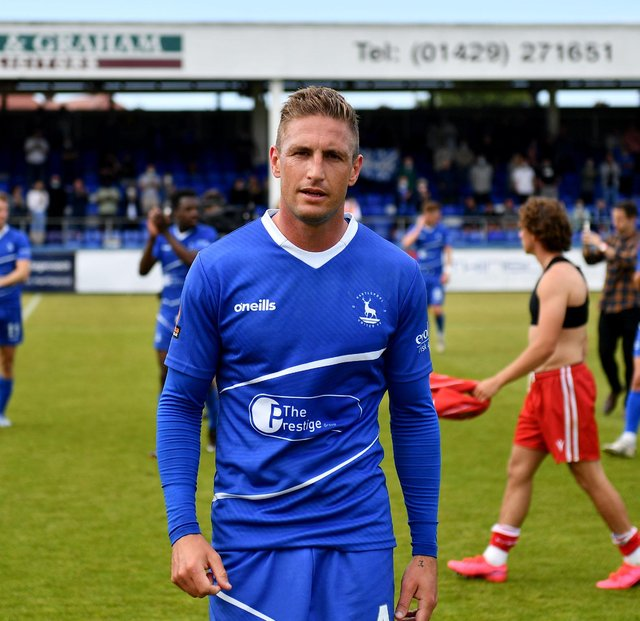 Gary Liddle at the end of Hartlepool United's 3-2 win over Bromley National League Playoff eliminator. 06-06-20212. Picture by FRANK REID