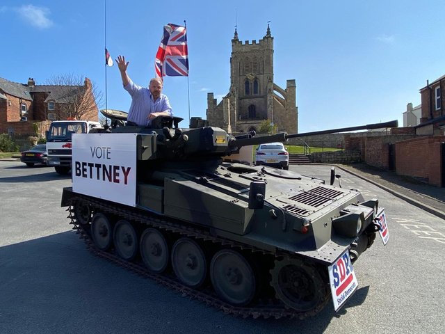 David Bettney, the SDP's candidate in the MP by-election for Hartlepool, in the tank used during the event on the Headland.