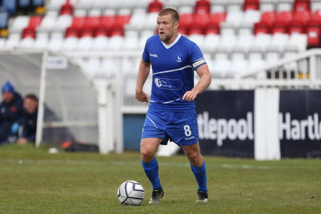 Nicky Featherstone of Hartlepool United\  during the Vanarama National League match between Hartlepool United and Maidenhead United at Victoria Park, Hartlepool on Saturday 8th May 2021. (Credit: Mark Fletcher | MI News)
