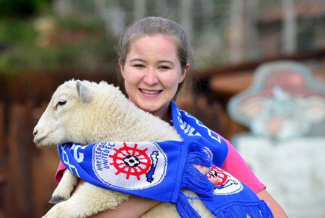 Lauren Francis from Tweddle Farm with Oatesy the lamb. Picture by FRANK REID