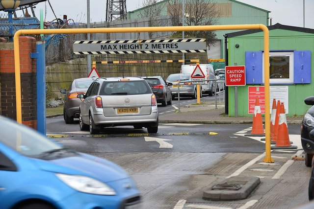 Traffic waiting to enter the Household Waste Recycling centre Burn Road, Hartlepool. Picture by FRANK REID