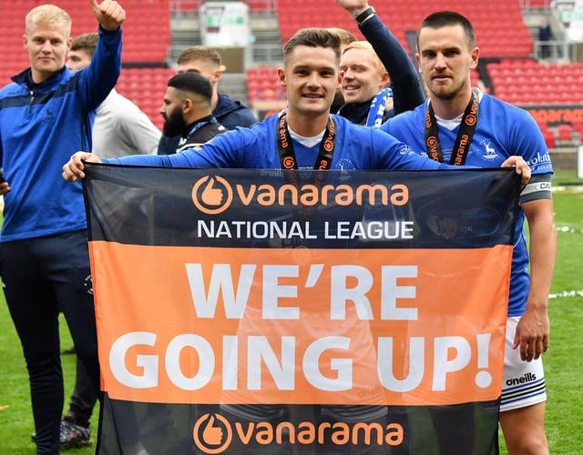 Hartlepool United players celebrate promotion last weekend at Bristol.