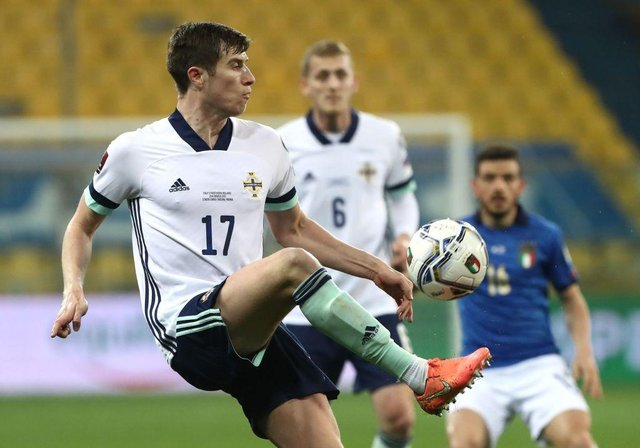 Middlesbrough's Paddy McNair playing for Northern Ireland.