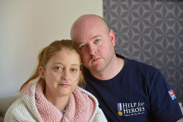 Natalie Dwyer with her partner Matthew Noble in their Hartlepool home.