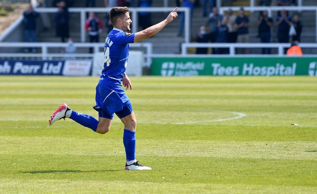 Gavin Holohan celebrates his goal. Hartlepool United FC 4-0 Weymouth FC 29-05-2021. Picture by FRANK REID