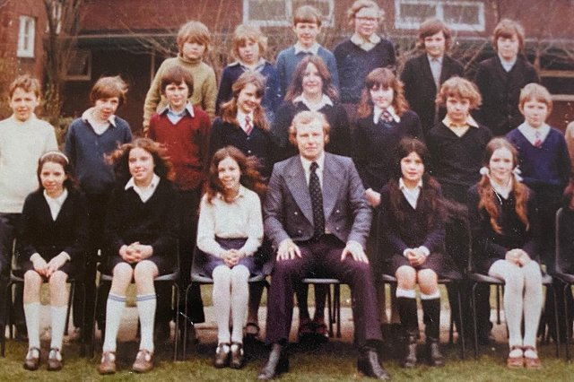 Mr Ridley with students in 1974.
