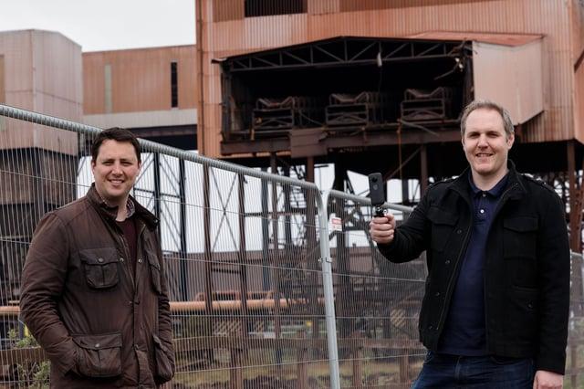 Mayor Ben Houchen, left,  with Karl Brown, of Hartlepool firm In Studio, at Teesworks.