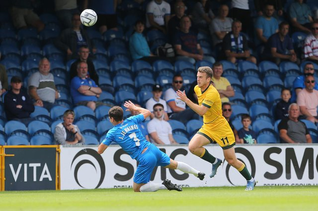Rhys Oates of Hartlepool United and James Jennings of Stockport County   during the Vanarama National League match between Stockport County and Hartlepool United at the Edgeley Park Stadium, Stockport on Sunday 13th June 2021. (Credit: Mark Fletcher | MI News)