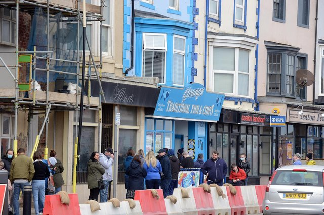 The Good Friday fish and chip queue at Youngs, Seaton Carew.