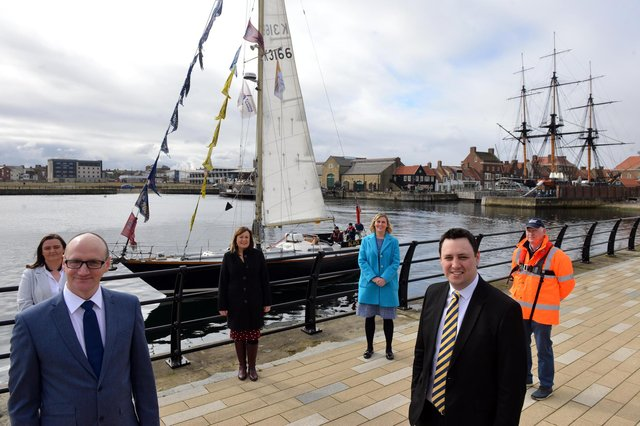 Hartlepool Tall Ships partners celebrate the town being chosen to be a host port in 2023. Front from left Coun Shane Moore, Leader of Hartlepool Borough Council and Ben Houchen, Tees Valley Mayor. Back from left Clare Duncan, Operation Manager of the National Museum of the Royal Navy, Denise McGuckin, Hartlepool Borough Council Managing Director, Gemma Ptak, Hartlepool Borough Council Assistant Director and Allan Henderson, Director of Hartlepool Marina Ltd.