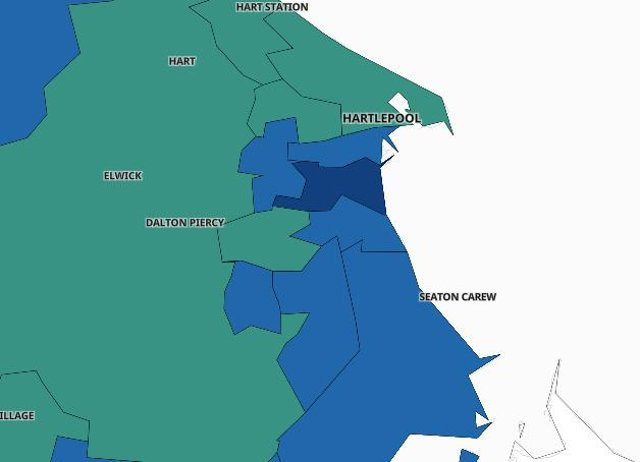 These are the areas of Hartlepool where Covid case rates were rising in the second week of March./Photo: UK Government
