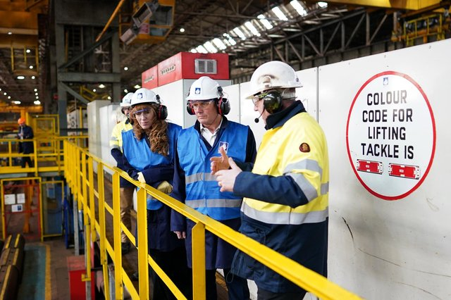 Sir Keir Starmer and Angela Rayner visit Liberty Steel, Hartlepool on Saturday, May 1. Picture: Ian Forsyth/Getty Images.