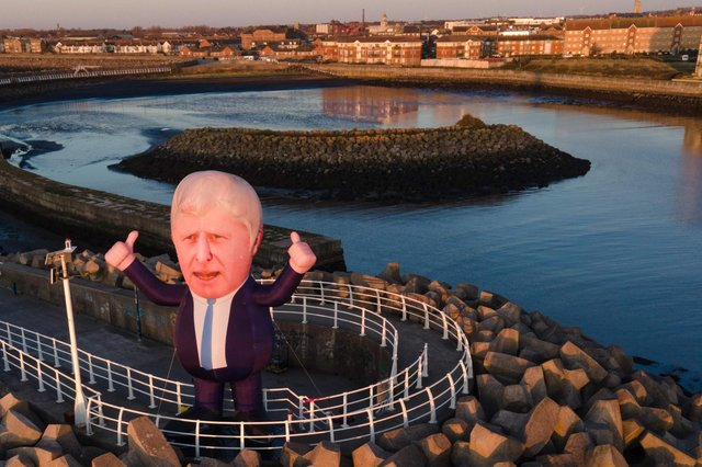 The large inflatable Boris Johnson put up at Hartlepool marina early on April 23 by a group calling themselves The Wombles of Hartlepool.