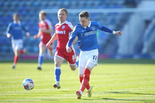 Ronan Curtis playing for Portsmouth.