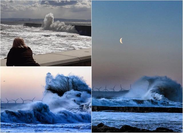 Waves battering the Hartlepool coastline on Tuesday, April 6./Photos: Brian Nunn and Stu Norton