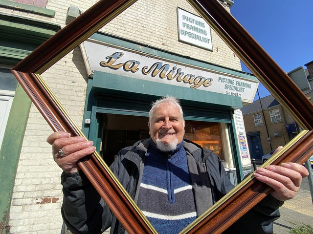 Jimmy Gettings outside his Alma Street picture framing shop.