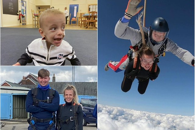 Jamie Greenhow and Abbieleigh Griffiths who completed a charity skydive to help the cause which supported their son Noah.