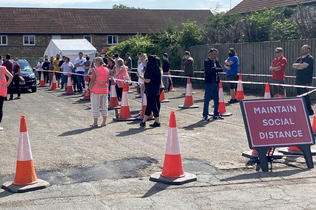 Queues outside the recent pop-up vaccination clinic at Hartlepool's St Aidan's Church.