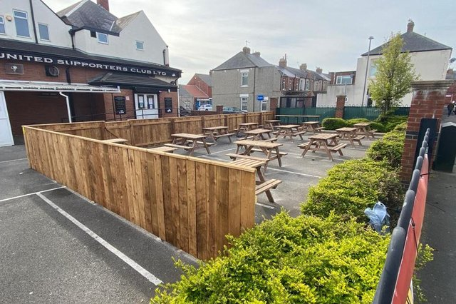 The beer garden in the car park at Hartlepool United Supporters Club.