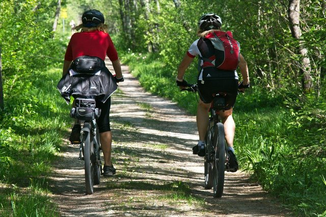 Cycling is a good overall muscle workout as it uses all of the major muscle groups as you pedal.