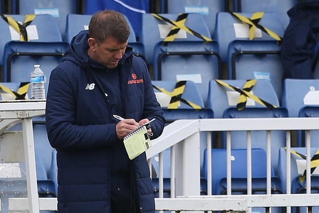 Hartlepool manager, Dave Challinor  during the Vanarama National League match between Hartlepool United and Maidenhead United at Victoria Park, Hartlepool on Saturday 8th May 2021. (Credit: Mark Fletcher | MI News)