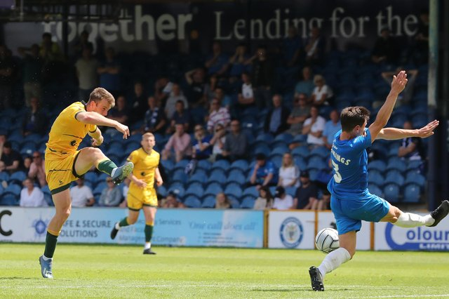 Rhys Oates of Hartlepool United shoots and scores their first goal. (Credit: Mark Fletcher   MI News)