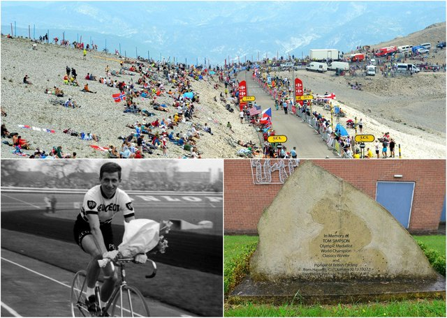 The Tour de France returns to Mont Ventoux, top, in 2021. Tom Simpson, bottom left, collapsed there during the 1967 race and later died. Right, a memorial stone remembers him in his East Durham birthplace.
