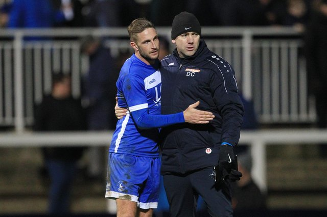 Hartlepool United manager Dave Challinor and Gary Liddle embrace at the end of the Vanarama National League match between Hartlepool United and Stockport County at Victoria Park, Hartlepool on Saturday 25th January 2020. (Credit: Mark Fletcher | MI News)