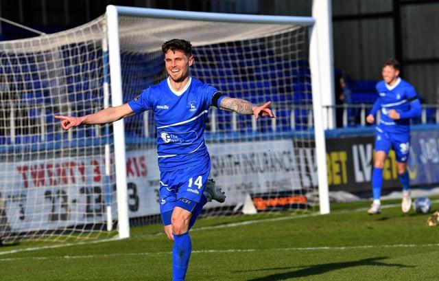 Gavan Holohan celebrates opening the scoring for Hartlepool United.