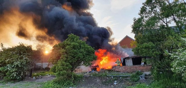 County Durham and Darlington Fire and Rescue Service shared this photo of the blaze as it appealed for help to trace those responsible for starting it.