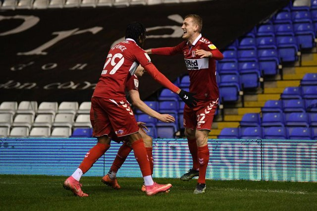 George Saville of Middlesborough celebrates after scoring the winning goal against Coventry.