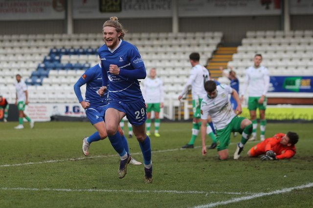 Hartlepool United's Luke Armstrong celebrates after scoring to make it 1-1 during the Vanarama National League match between Hartlepool United and Yeovil Town at Victoria Park, Hartlepool on Saturday 20th February 2021. (Credit: Mark Fletcher | MI News)