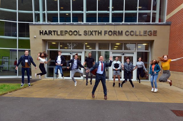 Time to celebrate at Hartlepool Sixth Form College.