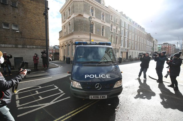 A police van arrives at Westminster Magistrates' Court, in London, where serving police constable Wayne Couzens appeared charged with murder and kidnapping related to the death of Sarah Everard. Picture: Steve Parsons/PA Wire.