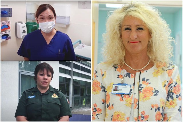 Emergency workers (clockwise from left) Milka, Julie Gillon, North Tees and Hartlepool NHS Foundation Trust chief executive, and Ruth Corbett of the North East Ambulance Service.