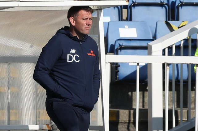 Hartlepool United manager Dave Challinor during the Vanarama National League match between Hartlepool United and Chesterfield at Victoria Park, Hartlepool on Saturday 1st May 2021. (Credit: Chris Booth | MI News)