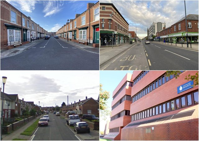 Some of the locations in Hartlepool where  most crime was reported to Hartlepool Police, bottom right, according to latest official figures.