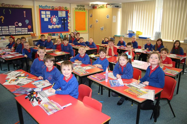 A class at Throston Primary School on their first day back.