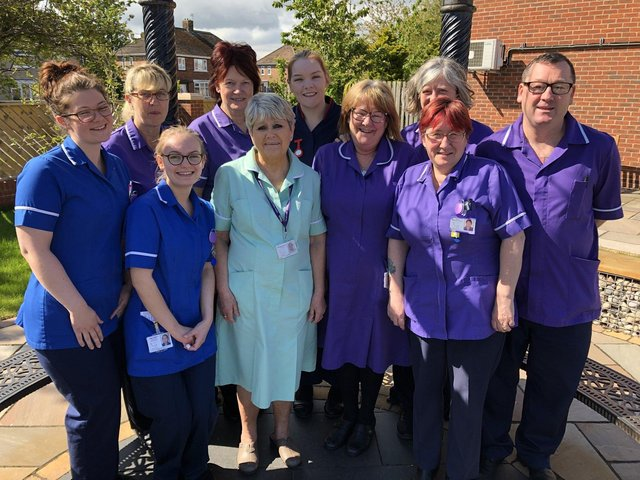 Alice House Hospice nurses and health care assistants before the outbreak of coronavirus.