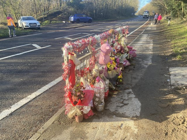 Tributes to the girls were left close to the scene of the collision on the Coast Road between Blackhall Colliery and Horden.
