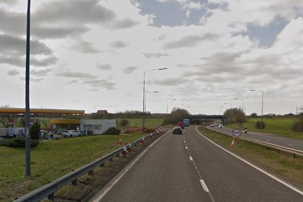 The collision happened just after the Easington Services on the southbound carriageway of the A19. Image copyright Google.