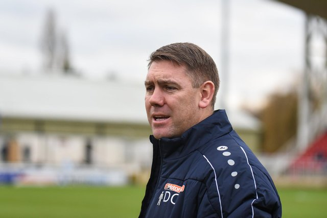 Hartlepool United manager Dave Challinor during the Vanarama National League match between Woking and Hartlepool United at the Kingfield Stadium (Credit: Paul Paxford   MI News)