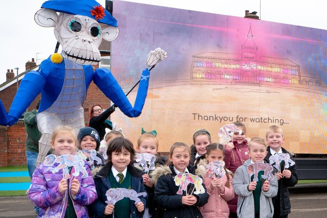St Aidans Primary School children get a visit from Javert the Monkey thanks to Greener Lavelle for the launch of Wintertide 2020. Photo by @Raw35