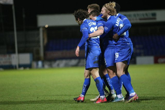 Hartlepool United's David Ferguson celebrates after scoring their second goal   during the Vanarama National League match between Hartlepool United and Solihull Moors at Victoria Park, Hartlepool on Tuesday 9th February 2021. (Credit: Mark Fletcher | MI News)